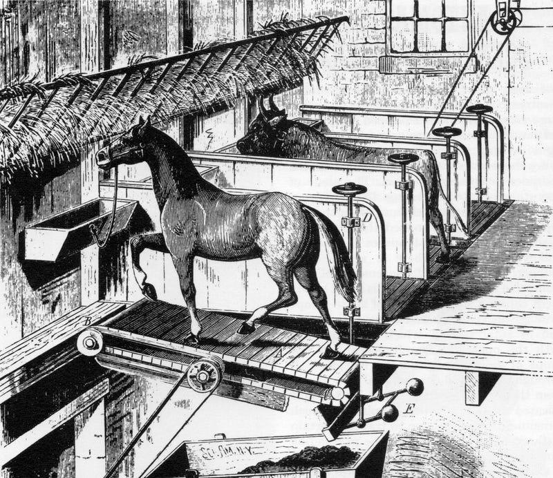 Russian Man Uses Horse Treadmill to Power Log Splitter