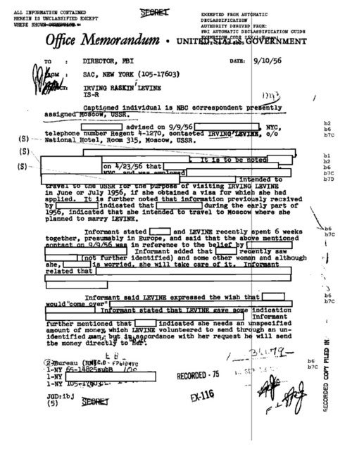 Selections From NBC News Reporter Irving R. Levine's FBI File