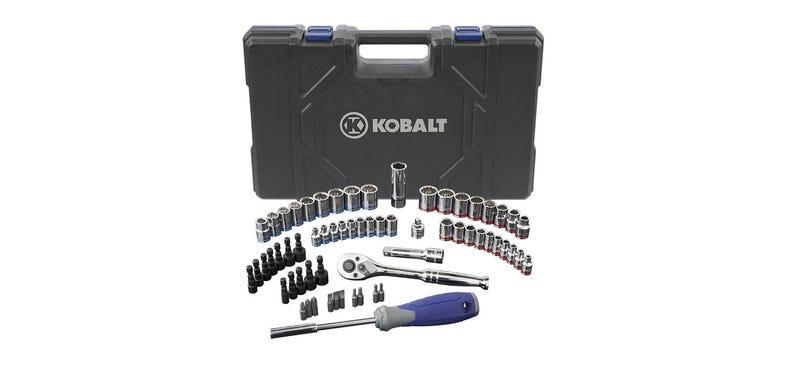 A Kobalt 63-Piece Standard/Metric Mechanics Tool Set with Case is $30