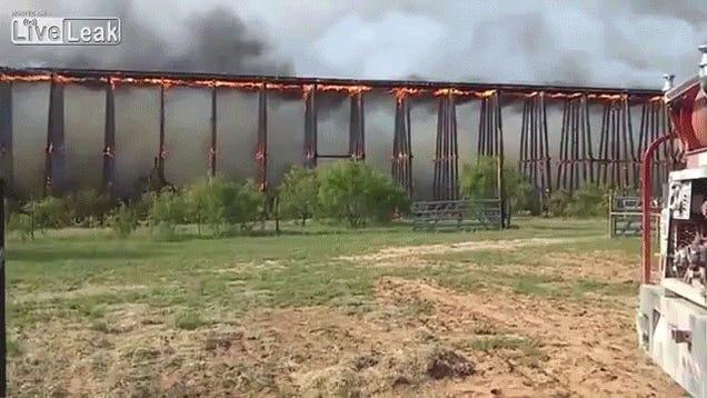 Texas Fire Collapses Bridge Like Dominoes