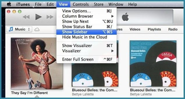 how to see sidebar in itunes