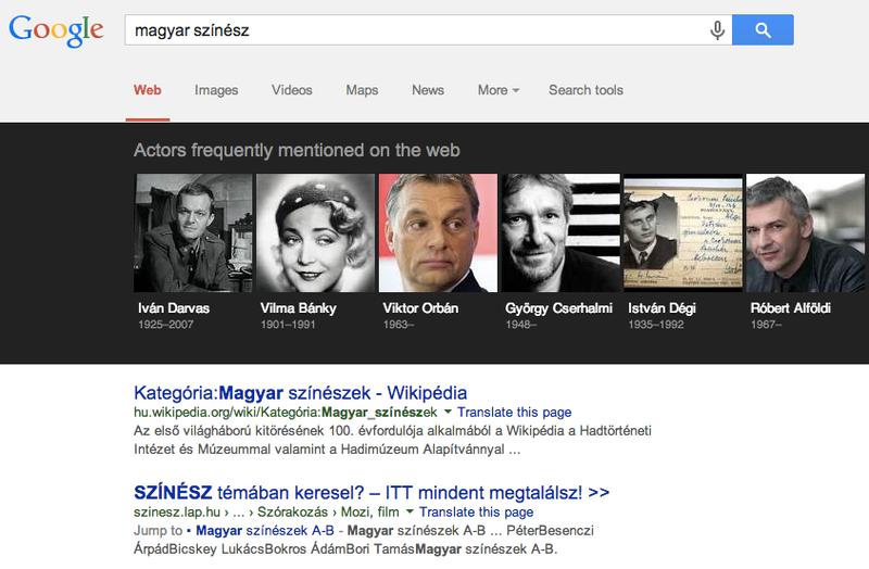 A legmenőbb magyar színészek a Google szerint