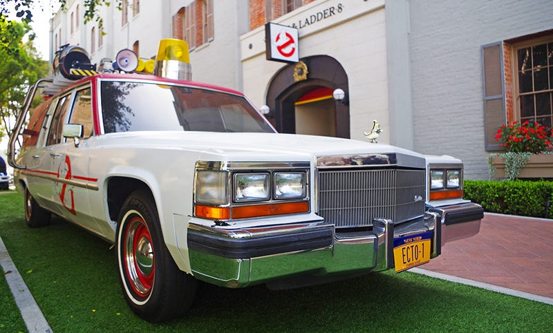 the new ghostbusters ecto1 car is this sweet 80s