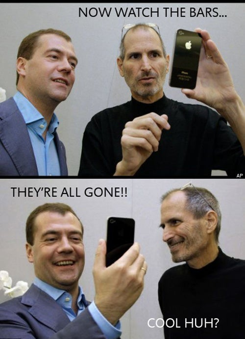 Steve Jobs Shows Cool Antenna Trick to Russian President
