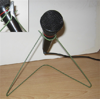 Make a microphone stand out of a wire hanger