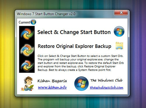 Windows 7 Start Button Changer Swaps Start Button Icon