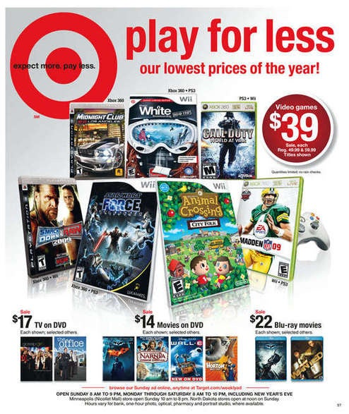 Target Drops World At War, Shaun White, Force Unleashed to $40