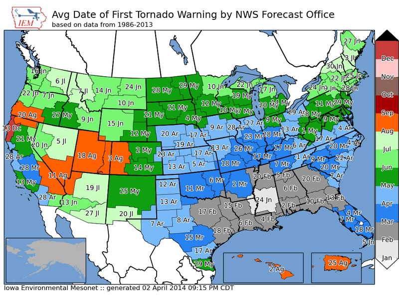 Map Porn: Average Date of Year's First Tornado Warning