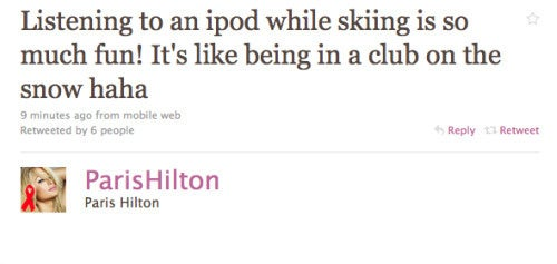Paris Hilton Listens to Her iPod While Skiing