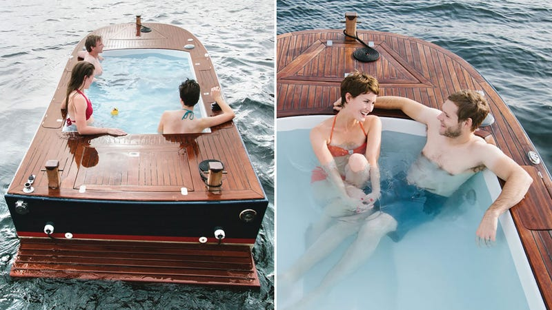 All You Need in a Boat: An 8-Foot Hot Tub and Four Coolers