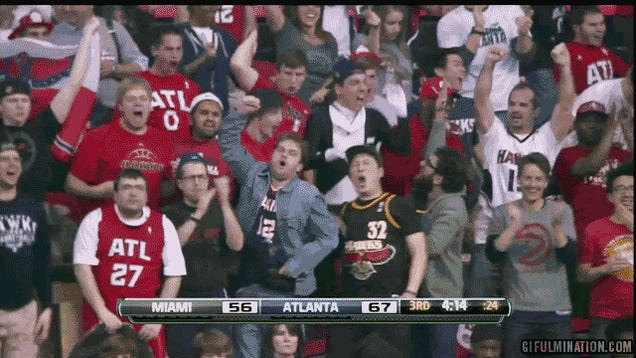 This Hawks Bro Is So Amped He Can Barely Move