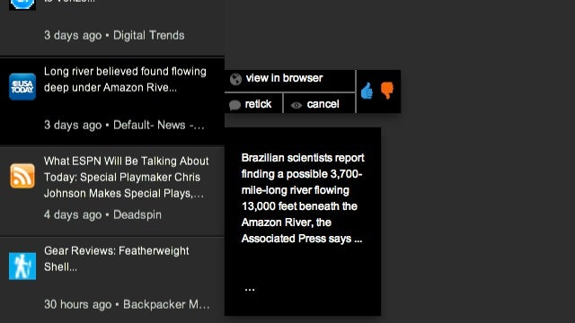Retickr Creates a Personalized News Stream On Your Desktop