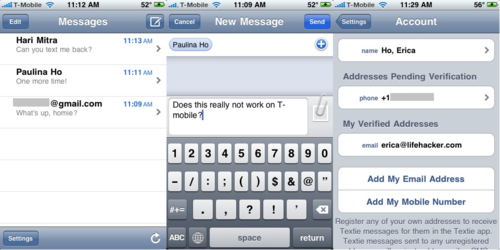 Textie for iPhone Sends Free Text Messages