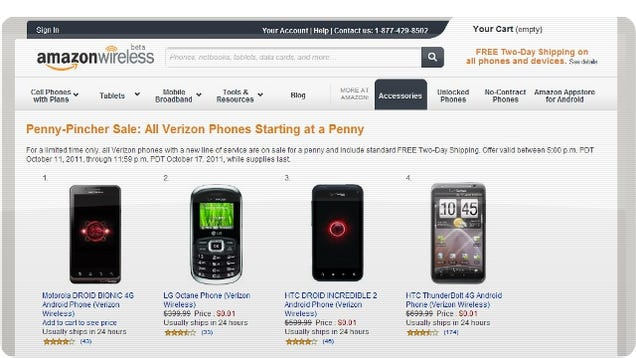 A Penny Will Get You A Verizon Wireless Phone From Amazon