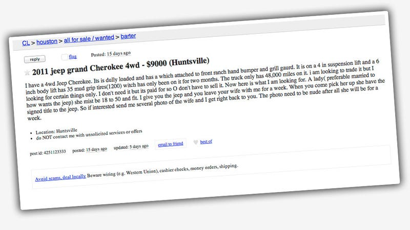 Guy On Craigslist Will Trade You His SUV For A Week With Your Wife