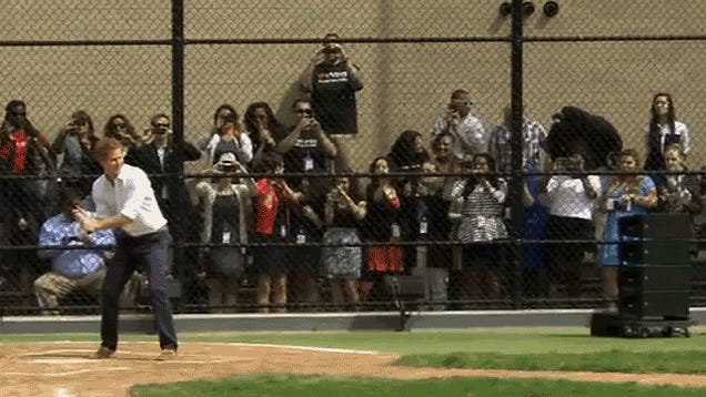 Prince Harry Has A Pretty Decent Baseball Swing