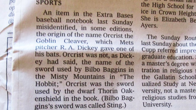 The New York Times Is Very Sorry For Getting Bilbo's Sword Wrong