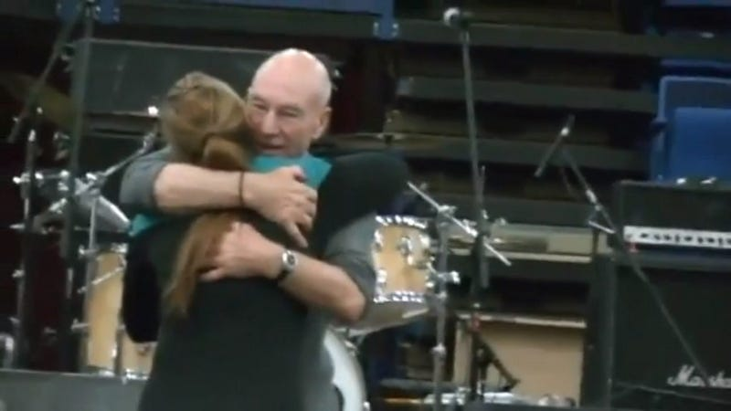Sir Patrick Stewart Embraces Domestic Abuse Victim He Helped Save