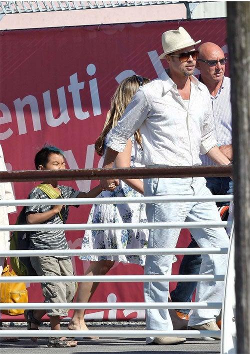Brad & The Boys Embark On Venetian Cruise