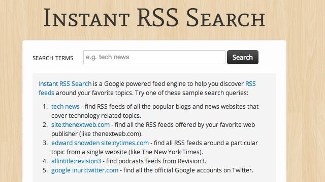 Instant RSS Search Quickly Finds Feeds On Your Favorite Topics