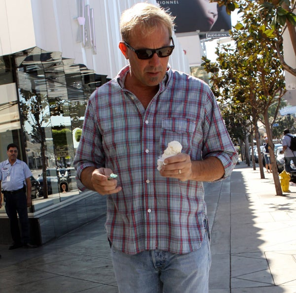 Kevin Costner Knows Where That Ice Cream Is Going: His Thighs!