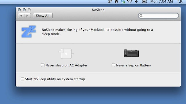 NoSleep Prevents Your MacBook from Sleeping When You Close the Lid