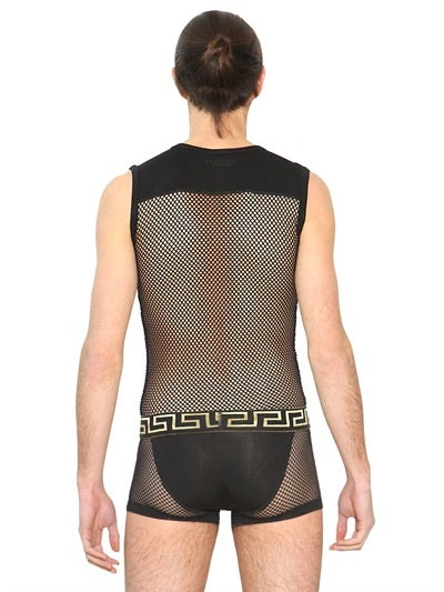 Versace Selling Breathable Mesh and Lace Bodysuits Por Homme