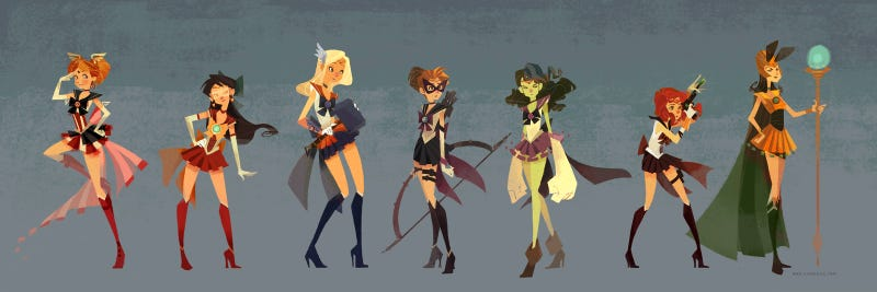 Sailor Moon Avengers fight aliens by moonlight