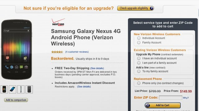 Amazon Is Selling the Galaxy Nexus for $150