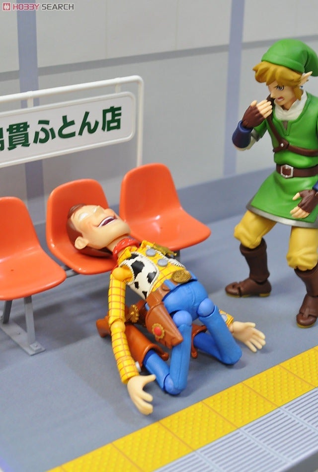 Creepy Woody, Angry Link and Friends Make Plastic Benches Fun