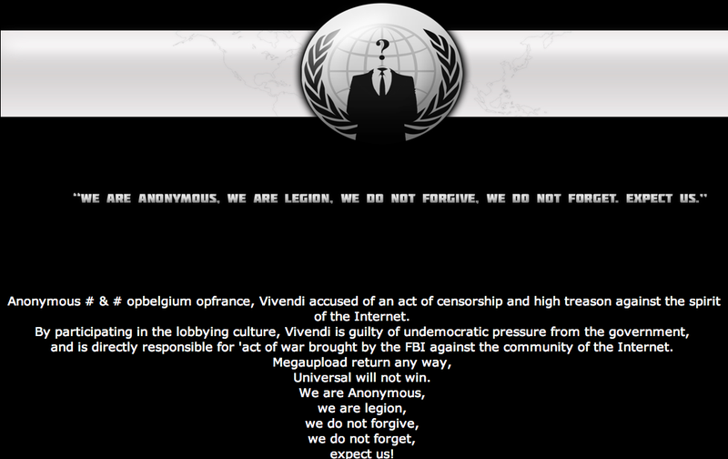 Anonymous Just Deleted CBS.com and Took Down Universal