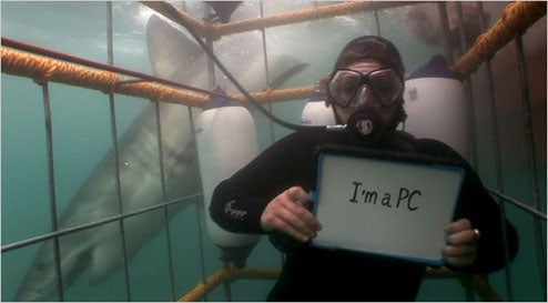 First Screenshot of the New Microsoft Ads, I'm a PC and I Shark Dive!