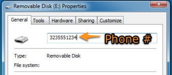 Use Your Mobile Number As A USB Drive Label