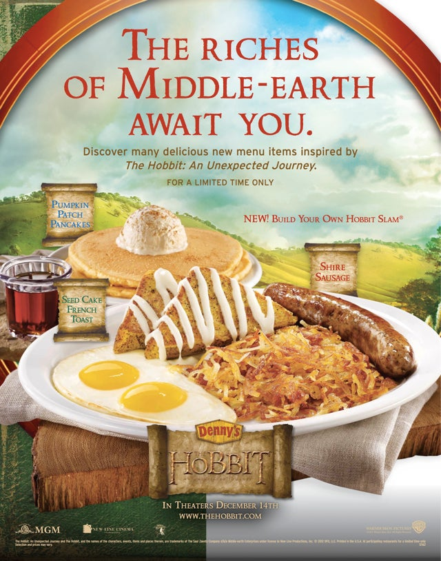 The Hobbit's Second Breakfast being served at Denny's is something that is happening