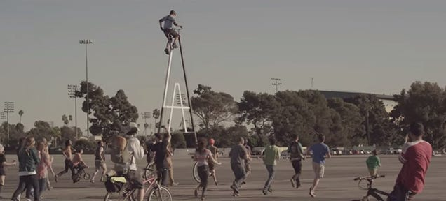 Watch a Guy Ride the World's Tallest Bicycle