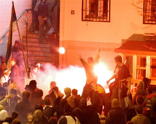 Drunk Serbs Storm U.S. Embassy, Levi's Outlet