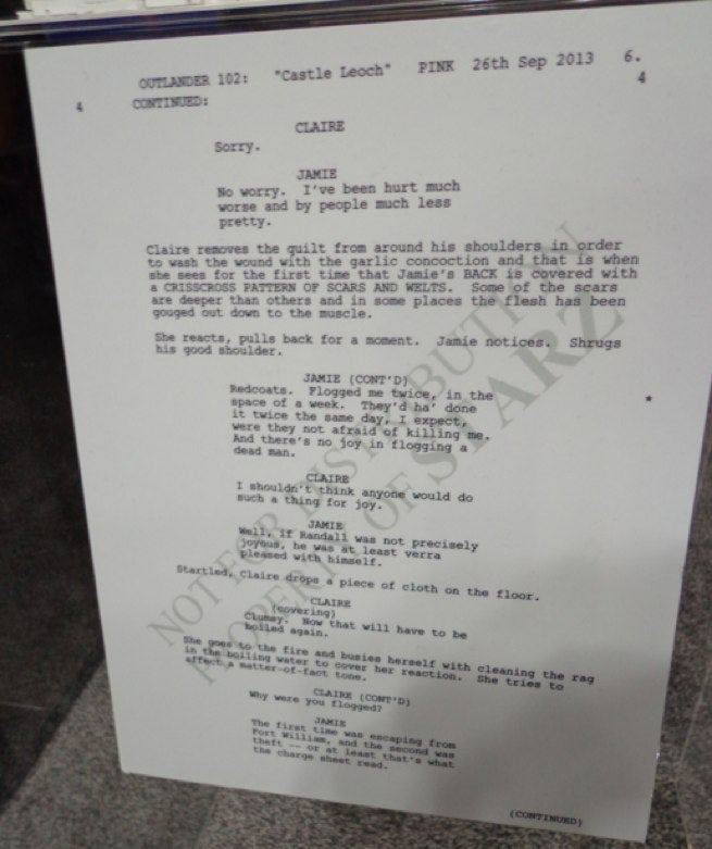 Ron D. Moore reveals the sets and script pages from his Outlander show
