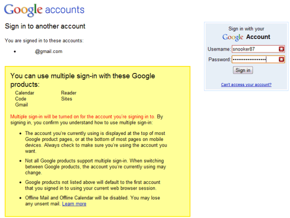 Google Multiple Account Log-In Is a Go