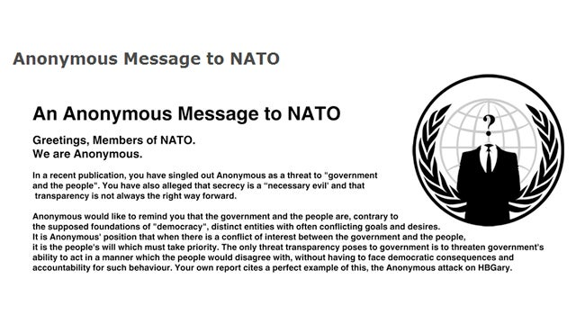 Anonymous to NATO: Do not Make the Mistake of Challenging Anonymous