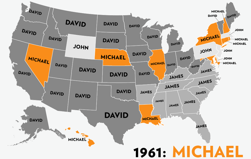 Map: Six Decades of the Most Popular Names for Boys, State-by-State