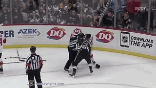 Willie Mitchell Uses Kris Letang's Helmet Against Him In Fight