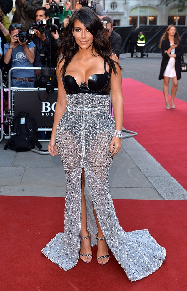 Kim Kardashian Hits the Red Carpet in Pleather and Chain Mail