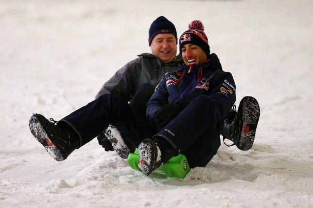 Caption This Photo Of A Sledding Daniel Ricciardo Of Infiniti Red Bull