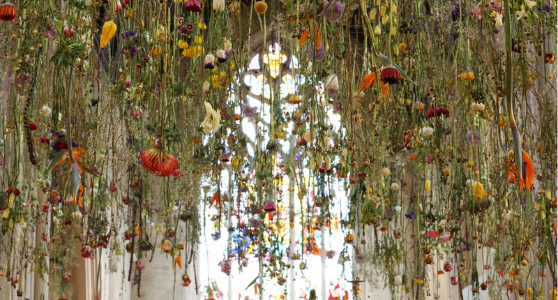 Massive floating flower installations