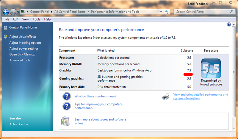 Windows 7 Performance Meter Goes Up To 7.9, Still Not Fantastic For Gaming Measurements
