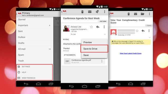 Gmail for Android Gets Drive Integration, a Better Sidebar, and More