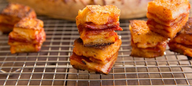 Why have salad or soup with croutons when you can use pizza croutons
