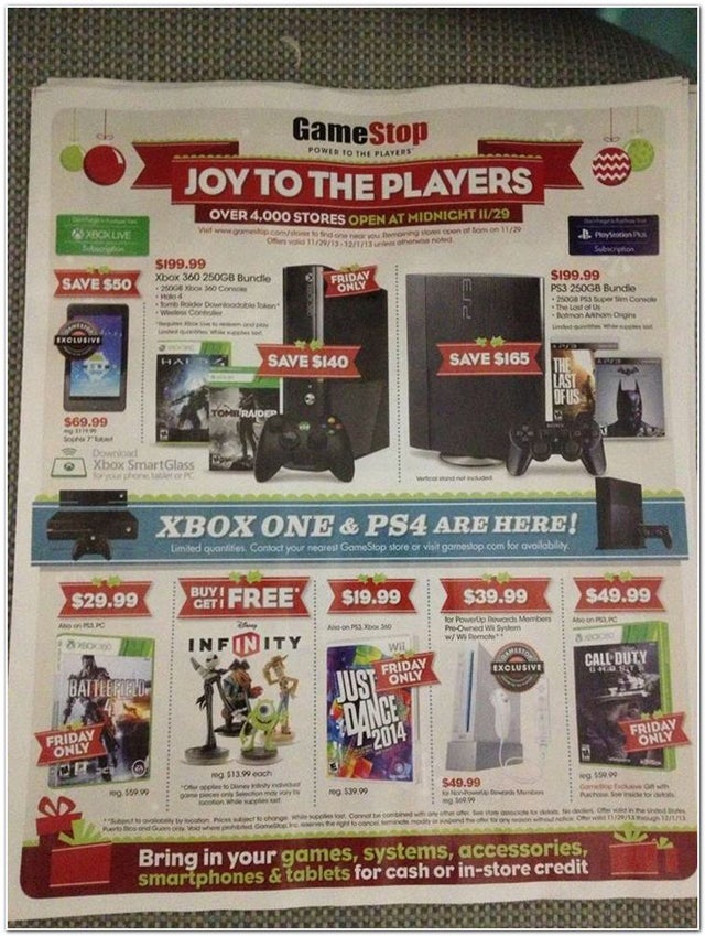 GameStop's 2013 Black Friday Deals Appear To Have Leaked
