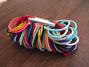 Store Hair Ties on a Carabiner
