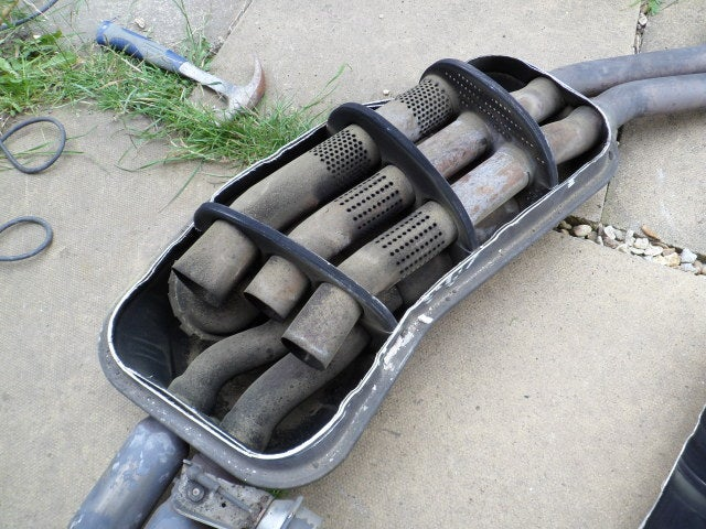 This is the inside of a stock E36 328i Muffler